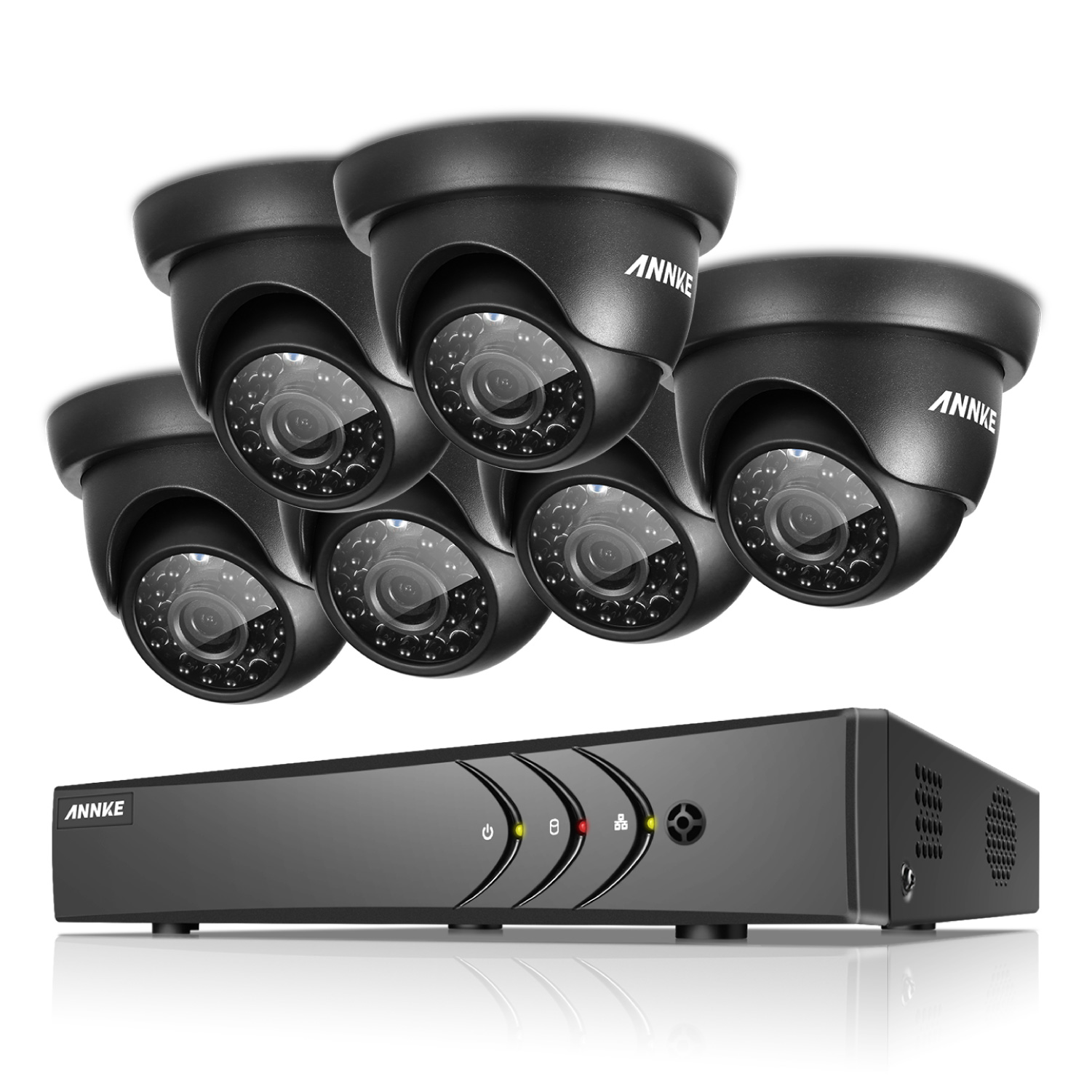 ANNKE 8CH 1080N CCTV DVR Security Camera System and 6Pcs 720P Night Vision Surveillance Cameras(Hard Drive Capacity is optional:0-NO HDD,1-1TB HDD)
