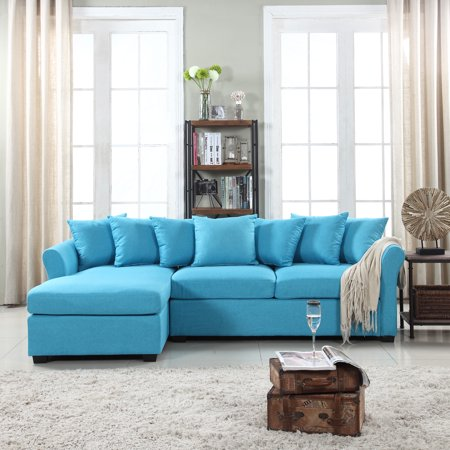 Modern Large Linen Sectional Sofa with Extra Wide Chaise Lounge ()