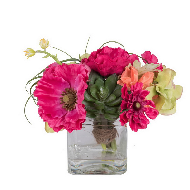 "Vickerman F12288 14"" Poppy/Dahlia/Succulent in Cube"