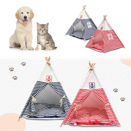2ft Pet Cat Dog Cotton Canvas Indian Teepee Playhouse Sleeping Dome Play House Tent w/ Removable Cushion