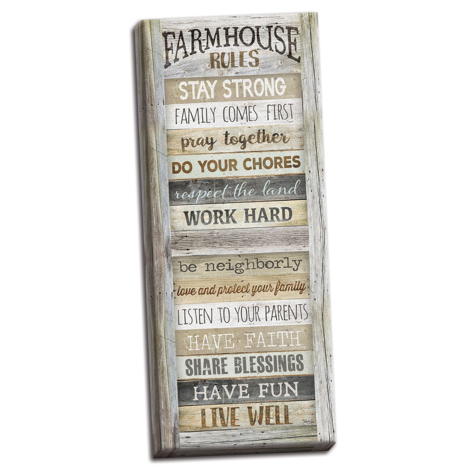Gango Home Decor Country-Rustic Farmhouse Rules by Marla Rae (Ready to Hang); One 8x20in Hand-Stretched Canvas