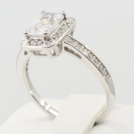 Emerald Side Stones - 1.50 Ct 14K Real White Gold Emerald Cut with Round Pave Side Stones Halo Illusion Setting Engagement Wedding Propose Promise Ring