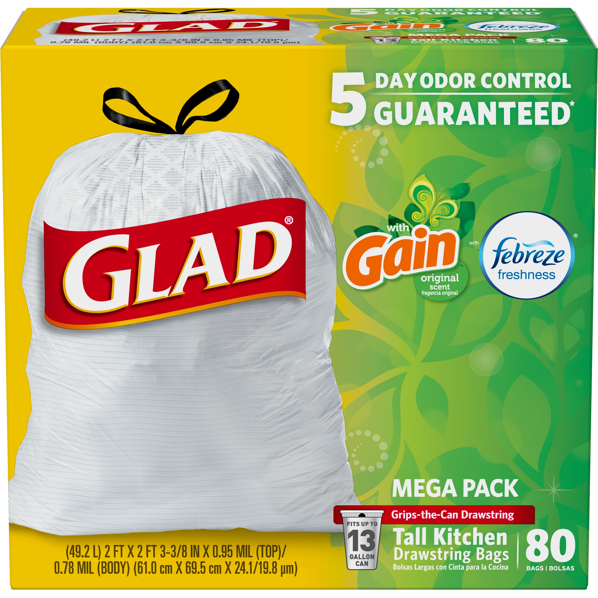 Glad OdorShield Tall Kitchen Drawstring Trash Bags, Gain Original with Febreze Freshness, 13 Gallon, 80 Count