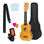 Manfiter Ukulele Kit For Beginner, 21 inch Soprano Ukulele Starter Bundle Kit, Nylon Gig Bag, Strap, Clip-on Digital Tuner, Extra Strings - Light Brown