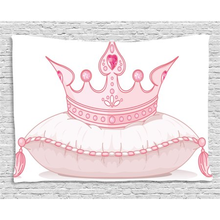 Fabric Panel Pillow Wall Hanging - Queen Tapestry, Cartoon Style Cute Pink Princess Crown on Pillow Fairy Tail Fantasy Girlish Fashion, Wall Hanging for Bedroom Living Room Dorm Decor, 80W X 60L Inches, Light Pink, by Ambesonne