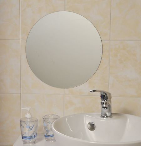 Decorative Wall Bathroom Self Adhesive Round Mirror Diameter 13.8""