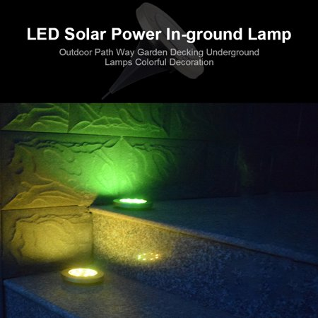 2pcs/pack 8 LED Solar Power In-ground Lamp Buried Light Outdoor Way Garden Decking Underground Lamps Colorful Decoration - image 2 de 7