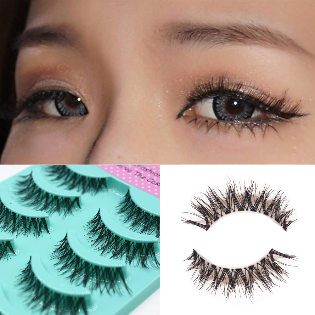 Newpee 5 Pairs Handmade Cross False Eyelash Soft Long Makeup Eye Lashes Extensions