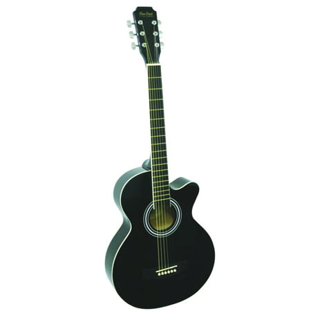 Main Street MAS38BK 38-Inch Cutaway Acoustic Guitar With High Gloss Black Finish