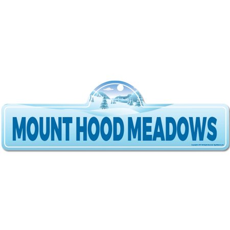 Mount Hood Meadows Street Sign | Indoor/Outdoor | Skiing, Skier, Snowboarder, Décor for Ski Lodge, Cabin, Mountian House | SignMission personalized gift