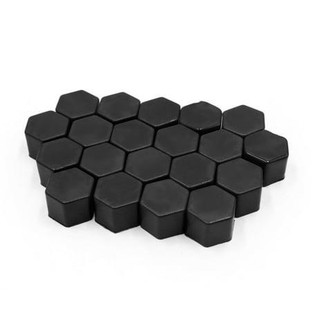 20Pcs Black 21mm Car Vehicle Wheel Nut Lug Hub Covers Screw Dust Protect Caps