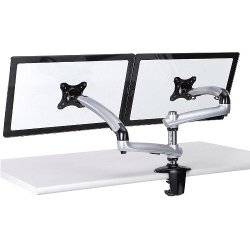 Cotytech Expandable Dual Desk Mount Spring Arm Clamp Base - Silver (DM-GS212-C)