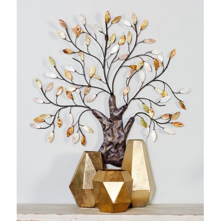 Decmode Traditional 29 X 30 Inch Multicolored Metal Tree of Life Wall Sculpture
