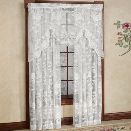 Abbey Rose Floral Pattern High Gauge Lace Curtain Panel 50