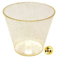 JL Prime 100 Gold Glitter Plastic Cups, 9 Oz Heavy Duty Reusable Disposable Gold Glitter Clear Plastic Cups, Old Fashioned Tumblers, Hard Plastic Drinking Cups for Party and Wedding