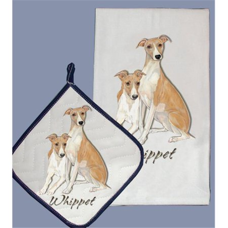 Pipsqueak Productions DP885 Dish Towel and Pot Holder Set - Whippet
