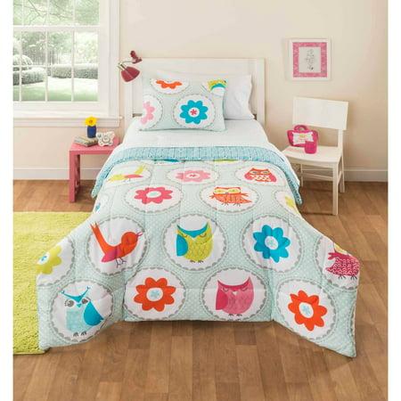 Mainstays Kids Owl Stripe Bedding Bed In A Bag Walmart Com