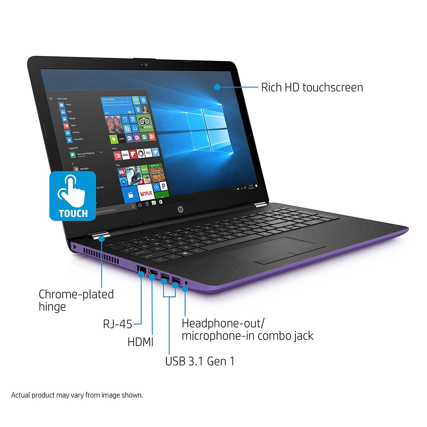 "HP 15.6"" HD High Performance Flagship Touchscreen Laptop Computer, Intel Core i3 , 4GB RAM, 500GB HDD, DVDRW, USB 3.0, Webcam, WiFi, Windows 10, Iris Purple"