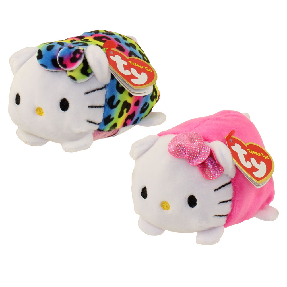 TY Beanie Boos - Teeny Tys Stackable Plush - Hello Kitty - SET OF 2 (Pink & Rainbow)
