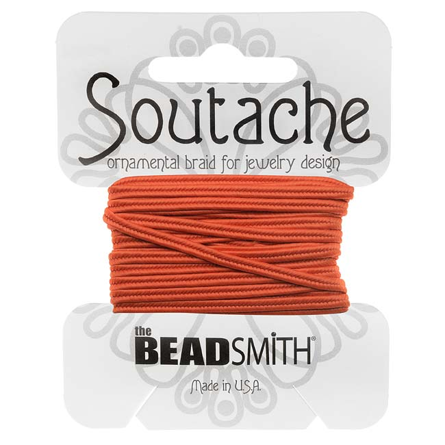 BeadSmith Soutache Braided Cord 3mm Wide - Saffron Orange (3 Yards)