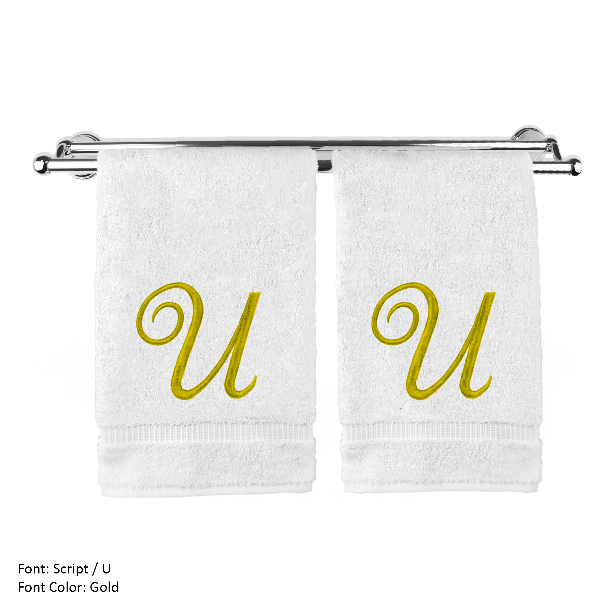 Monogrammed Washcloth Towel, Personalized Gift, 13x13 Inches - Set of 2 - Gold Script Embroidered Towel - Extra Absorbent 100% Turkish Cotton - Soft Terry Finish - Initial U White