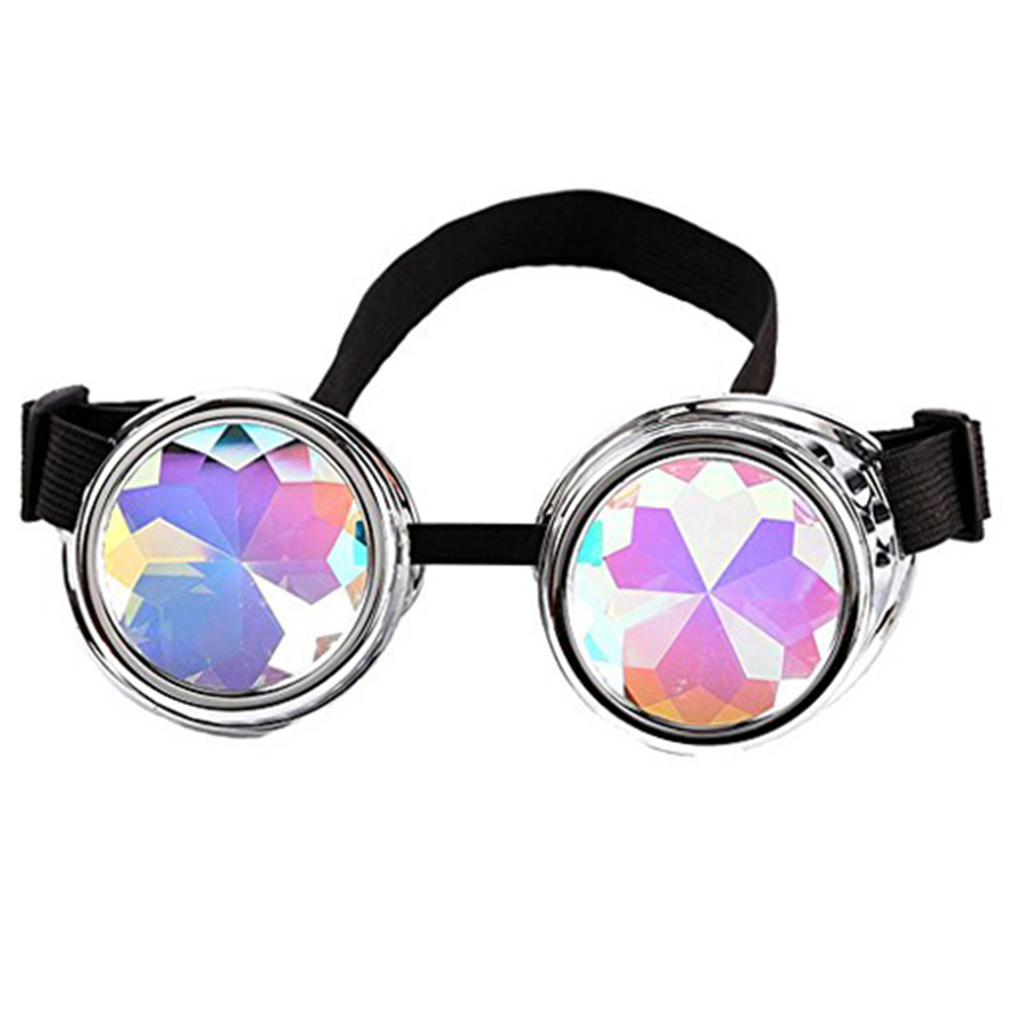 C.F.GOGGLE Kaleidoscope Steampunk Glasses Goggles with Rainbow Crystal Glass Lens Halloween Cosplay