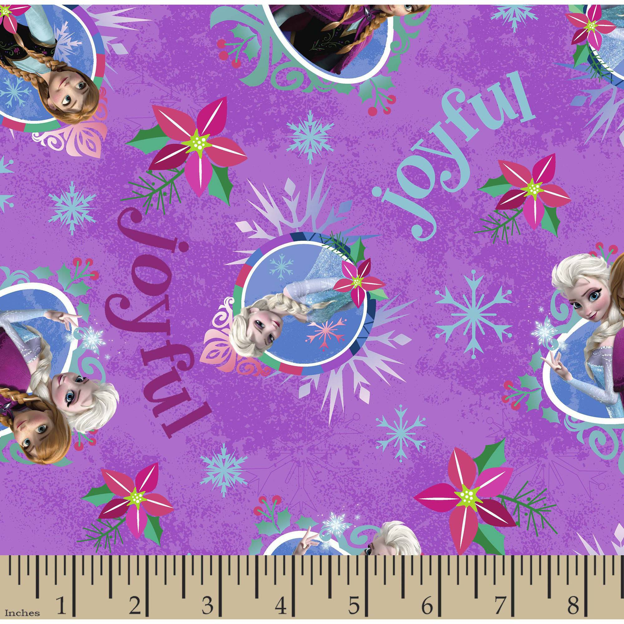 """Christmas Frozen Sisters Merry and Joyful Cotton Fabric By The Yard, Purple, 43/44"""" Wide"""