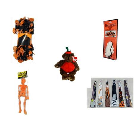 Halloween Fun Gift Bundle [5 Piece] -  Black & Orange Pumpkin Garland 10 ft. -  Resin