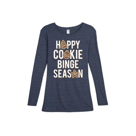 Happy Cookie Binge Season  - Ladies Long Sleeve Tee - Cookie Sleeves