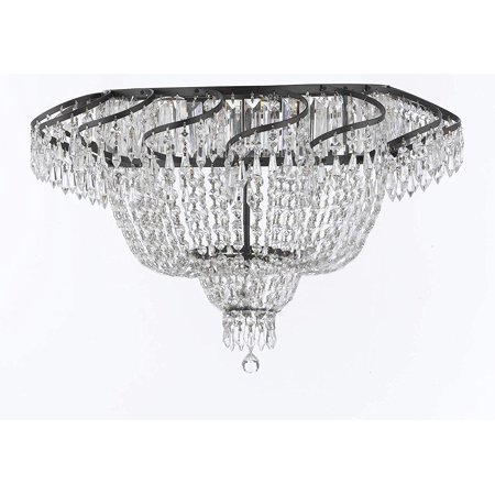 French Empire Crystal Flush Chandelier Lighting H20 X W24 with Dark Antique Finish!