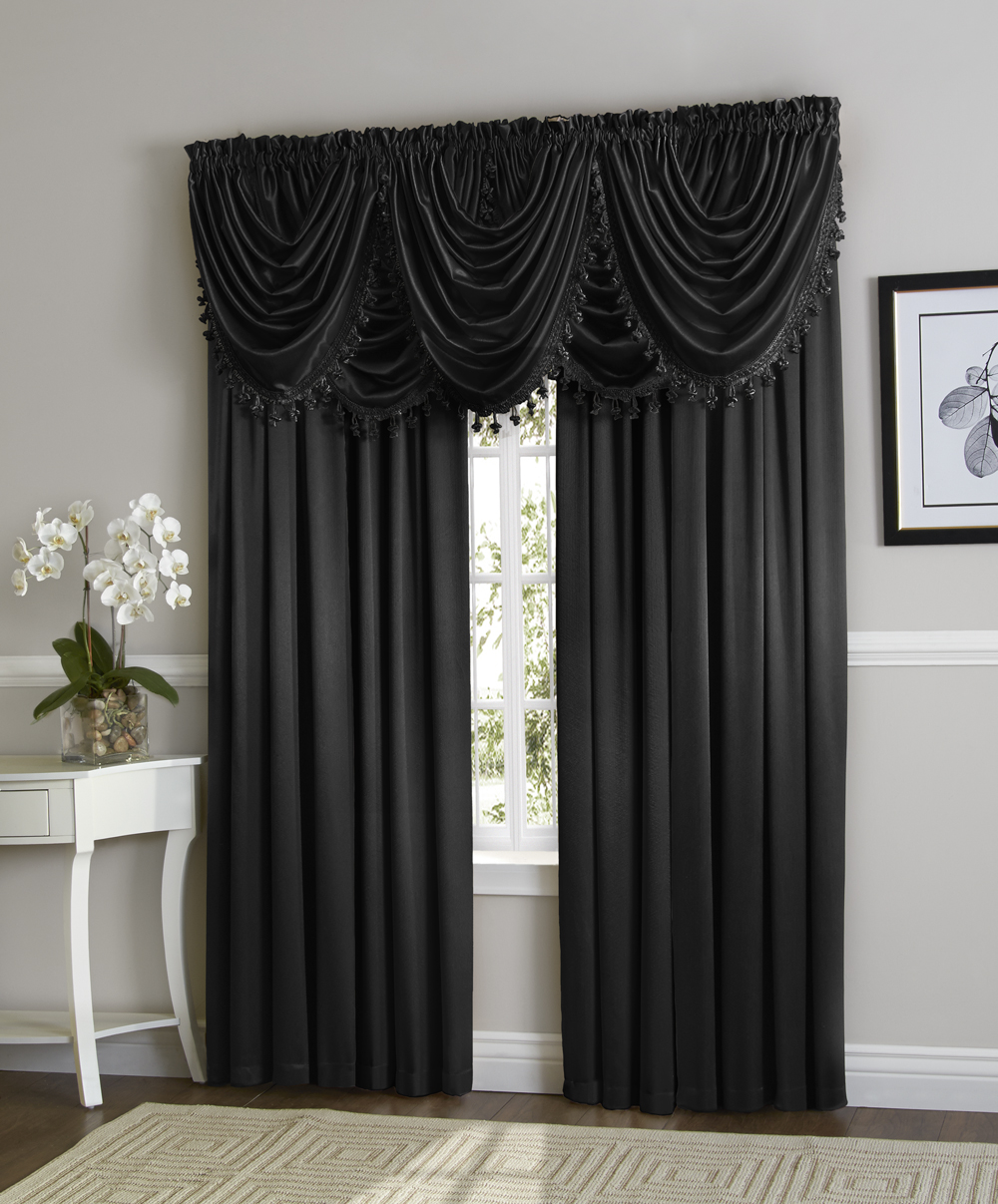Hyatt Window Curtain & Fringed Valance Complete 9 Piece Window Treatment Set Black by