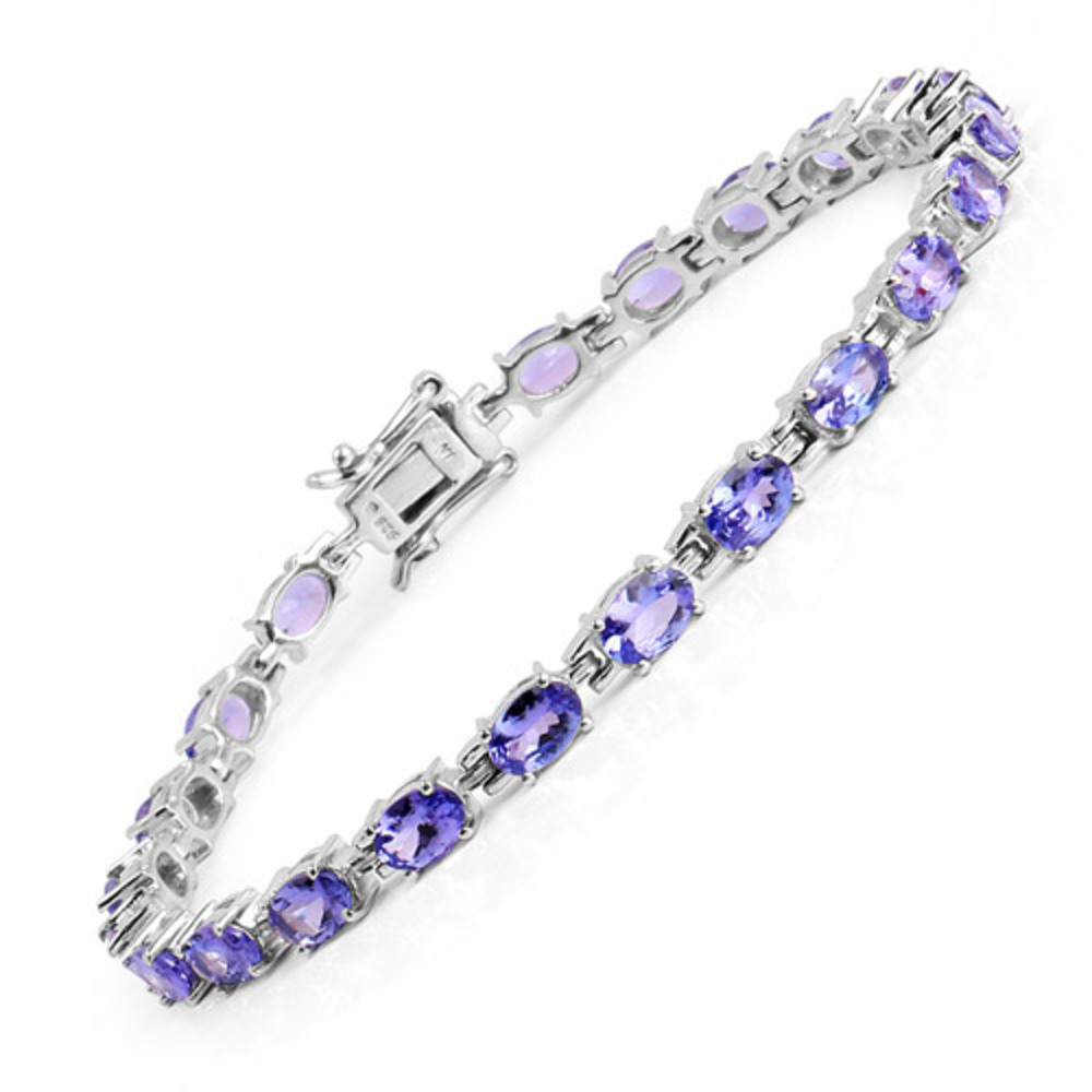 Genuine Oval Tanzanite Bracelet in Sterling Silver by Bonyak Jewelry