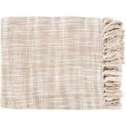 "49"" x 59"" Summertime Breeze Snow White and Tan Fringed Throw Blanket"