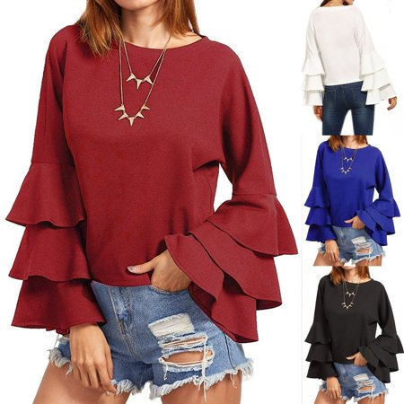 New Fashion Women Flared Bell Sleeve Casual Solid Ladies Tops Blouse Shirt Tops Plus