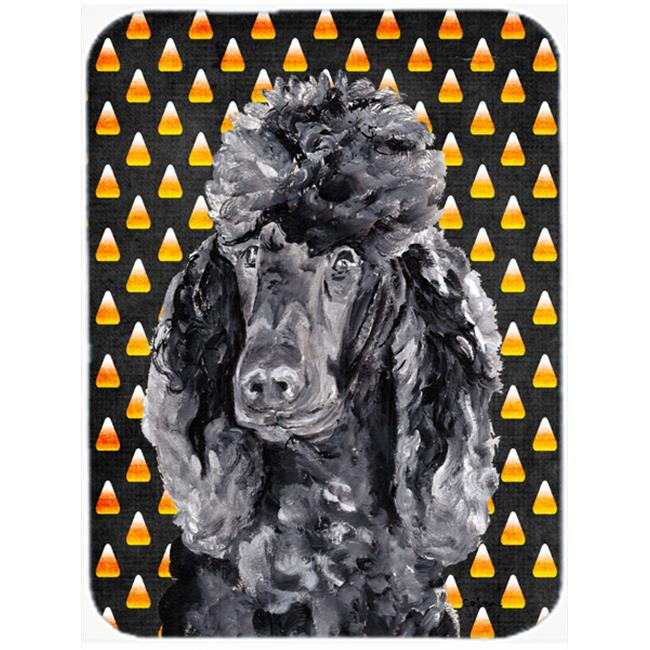 White Standard Poodle Candy Corn Halloween Mouse Pad, Hot Pad Or Trivet, 7.75 x 9.25 In.