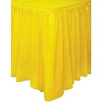 Plastic Table Skirt, 14 ft, Yellow, 1ct