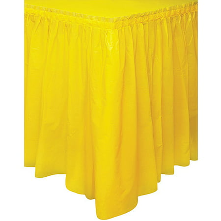 Plastic Table Skirt, 14 ft, Yellow, - Plastic Table Skirt