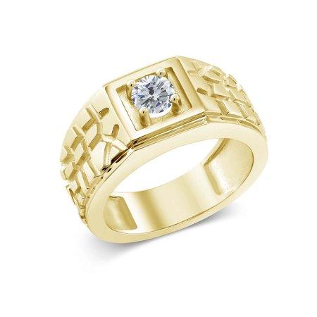 0.50 Ct Round G/H I1 Diamond 18K Yellow Gold Plated Silver Men's Solitaire (18k Yellow Gold Solitaire Ring)