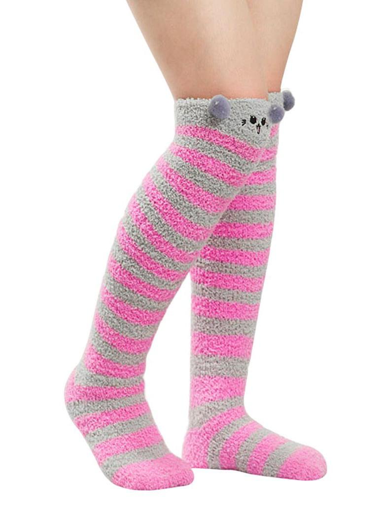 Knee Socks, Coxeer 2-Pair Winter Over Knee High Sock Cute Fuzzy Cozy Long Socks for Women Girls (Rosy)