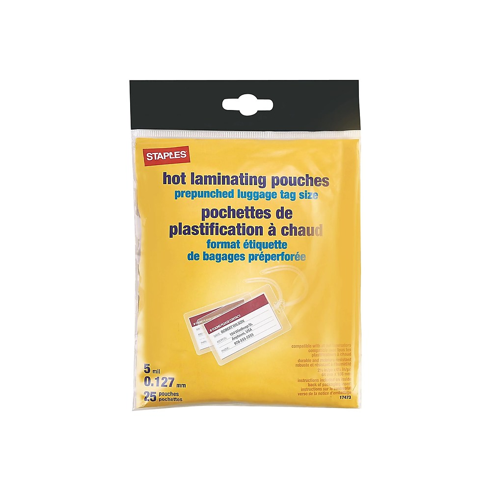 Staples Staples 5mil Luggage Tag Sized Thermal Laminating Pouches 25 Pack 413435 Walmart Com Walmart Com