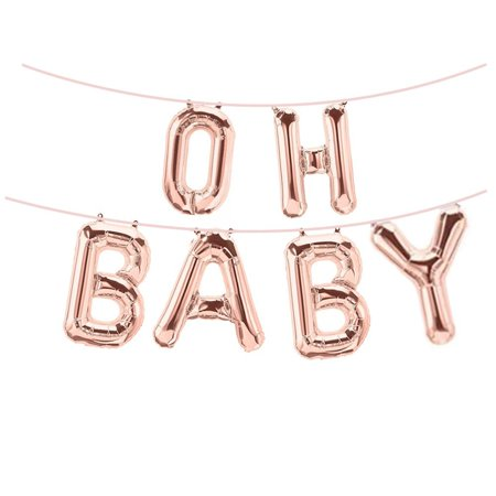 16 Inch Rose Gold Oh Baby Foil Balloons Banners For Girl Boy Birthday Party Baby Shower Photograph Ornament