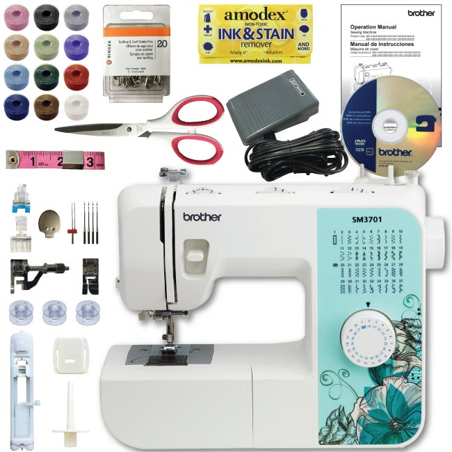 BROTHER SM3701 37-Stitch Sewing Machine Bundle - Scissors Pins Threaded Bobbins
