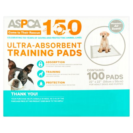 ASPCA Ultra-Absorbent Training Pads, 22 in x 22 in, 100 count, Mountain Air Scent (Puffy Pads)