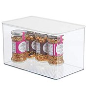 Plastic Stackable Kitchen Pantry Cabinet or Refrigerator Food Storage Container Box, Attached Hinged Lid - Organizer for Snacks, Produce, Pasta - Clear/White