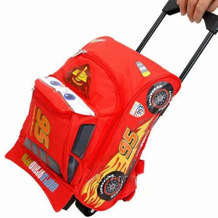 """Cars Mcqueen Rolling Bag 3D Shape Luggage Travel Trolley Roller Bag -Small 12"""" NEW"""