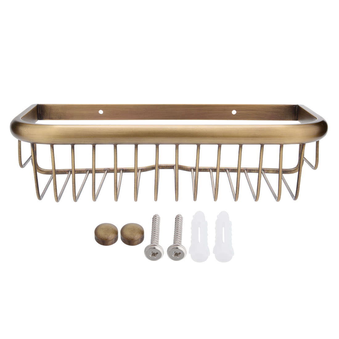 12-inch Length Brass Rectangle Shape Bathroom Shower Caddy Basket Bronze Tone by