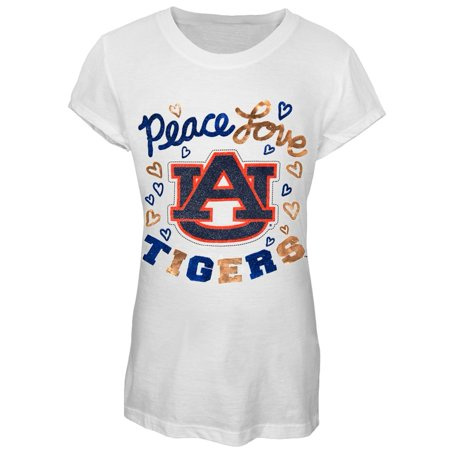 Auburn Tigers - Peace Love Glitter Logo Girls Youth T-Shirt