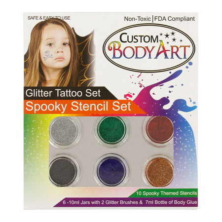 Custom Body Art - 6 Color Spooky Glitter Tattoo Set; 10 Themed Stencils (Ocean Themed Tattoos)