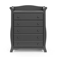 Storkcraft Avalon 5 Drawer Universal Dresser, Gray