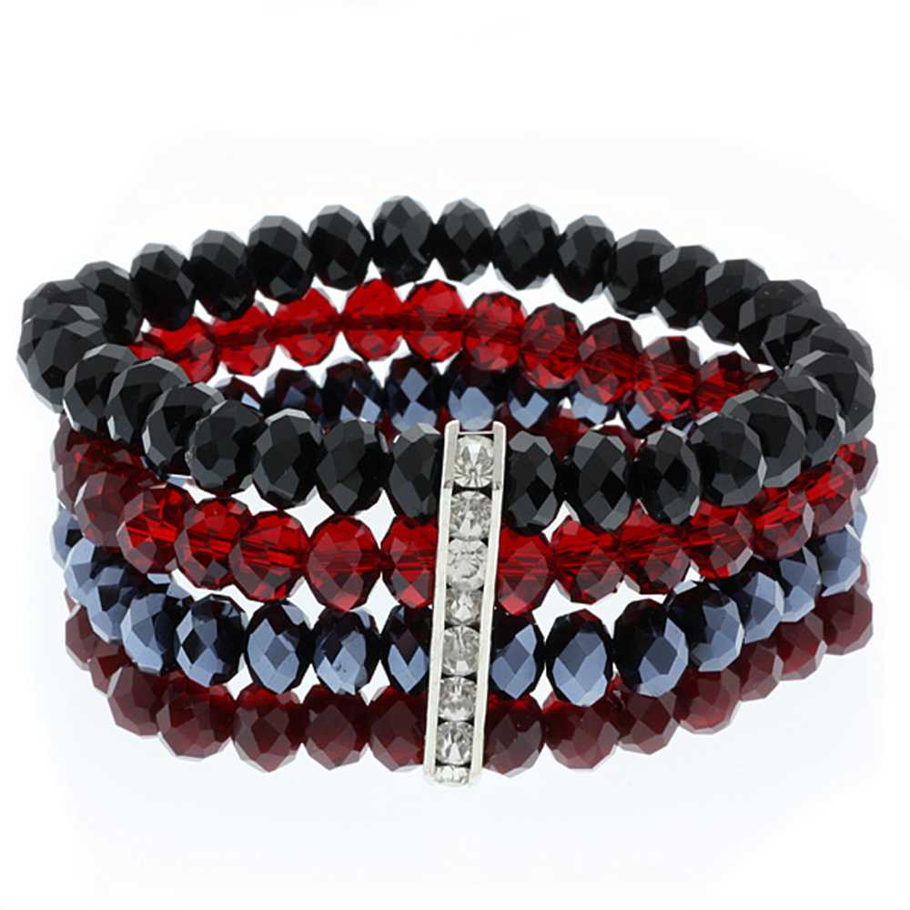 4-Row Multi-Color Black & Red Faceted Crystal Stretchy Bracelet